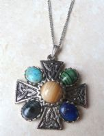 Vintage Celtic Cross Style Pendant And Necklace.